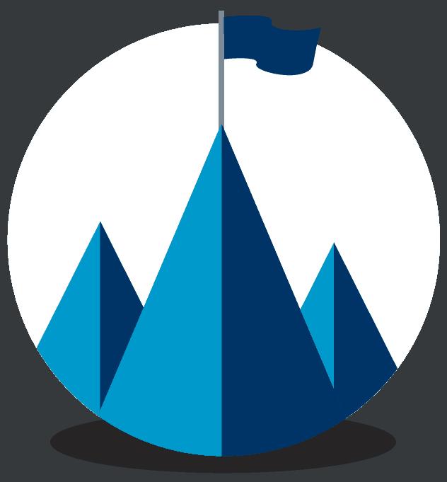 Drei spitze Berge wovon eines eine Fahne auf der Spitze. Ein Symbol für das Ziel was wir verfolgen.